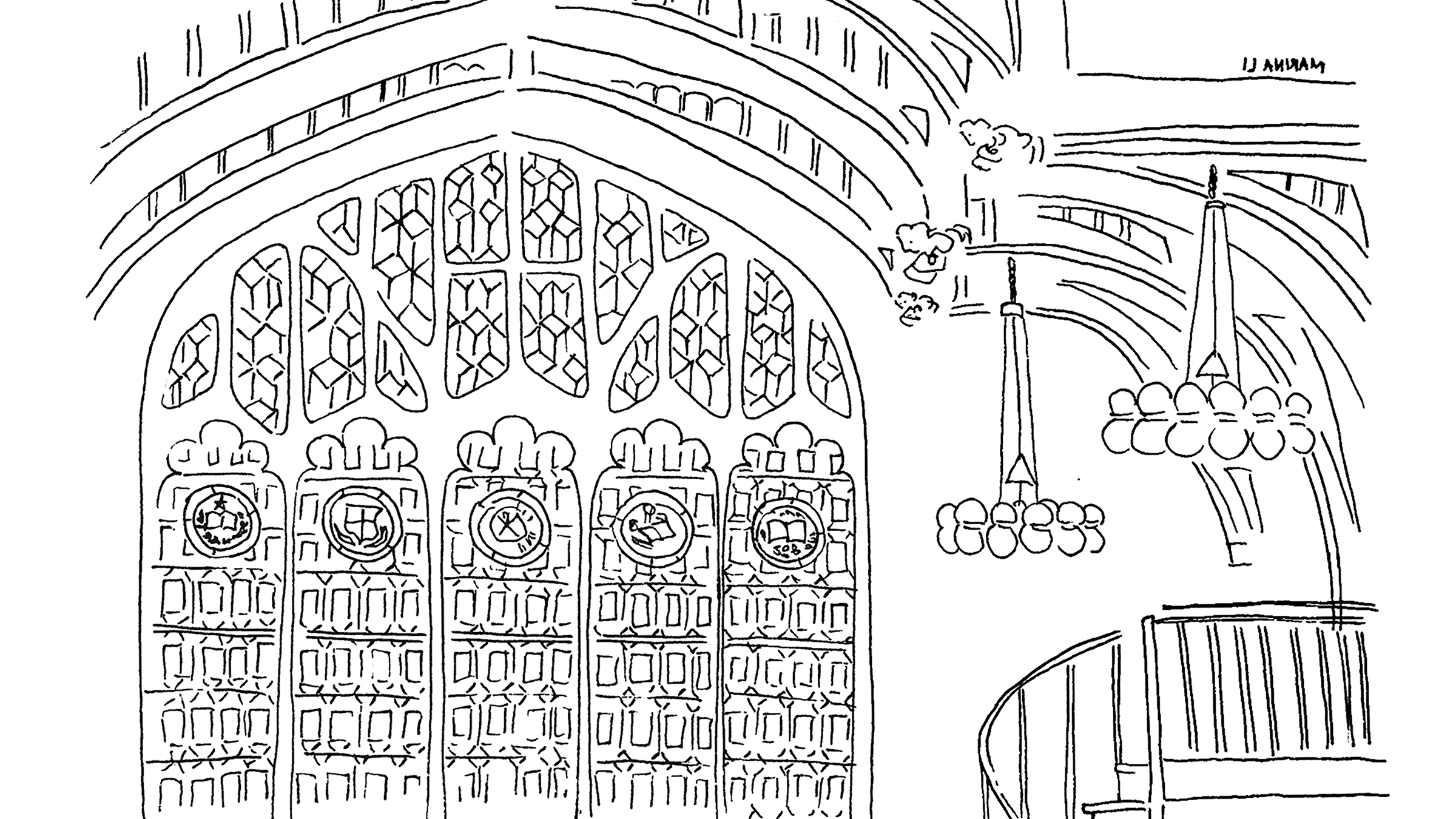 Illustration of the rose window in the library reading room
