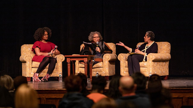 From left, Barbara Smith '69, Beverly Guy-Scheftall and Raquel Willis engaged in the keynote conversation on radical inclusion.