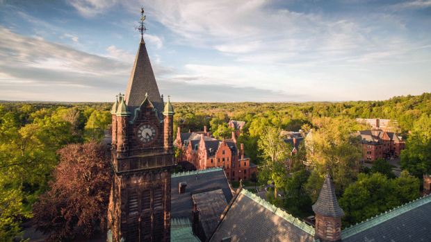 Aerial photo of the Mount Holyoke campus
